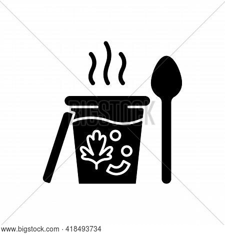 Takeaway Soups Black Glyph Icon. Liquid Food With Meat And Vegetables. Broth, Cream, Chowder. Nutrit