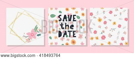 Charming Save The Date Lovely Spring Concept Card. Awesome Flowers And Birds Made In Watercolor Tech