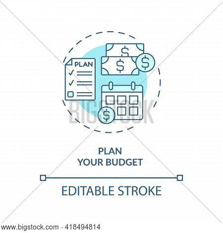 Plan Your Budget Concept Icon. Financial Organization Idea Thin Line Illustration. Budget Control. D