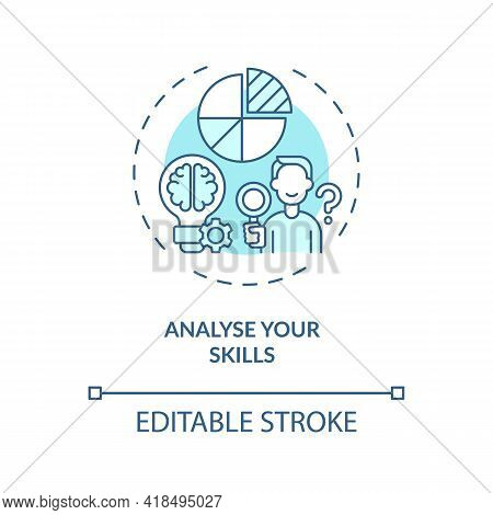 Analyse Your Skills Concept Icon. Find Your Strong Sides Thin Line Illustration. Search What Works B