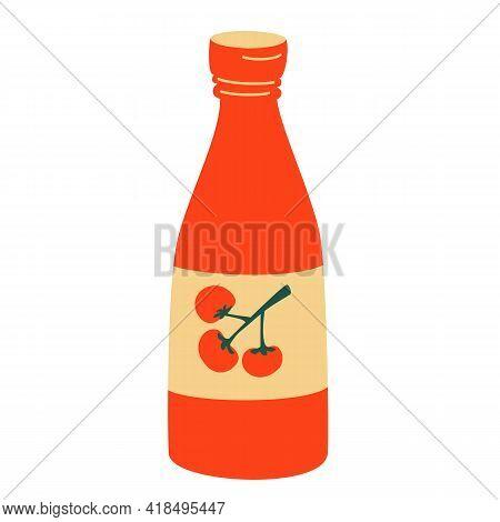 Ketchup Bottle. Bottle Tomato Red Sauce Healthy Organic Vegetarian Natural Vegetable Symbol Vector I