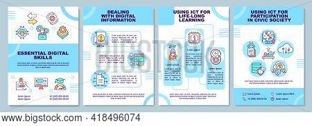Essential Digital Skills Brochure Template. Using Ict For Learning. Flyer, Booklet, Leaflet Print, C