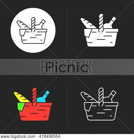 Picnic Basket Dark Theme Icon. Heaving Picnic Hamper. Holding Food And Tableware. Gathering Family F