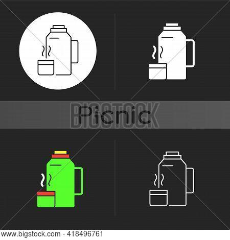 Vacuum Flask Dark Theme Icon. Keeping Coffee And Tea Hot. Thermos Flask. Leak-proof Mug. Heat Leavin