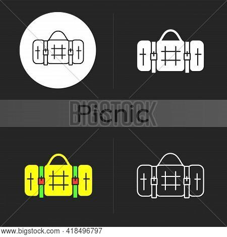 Picnic Blanket Dark Theme Icon. Houseware Item. Cloth Napkin. Backpacking Trip. Laying On Ground For