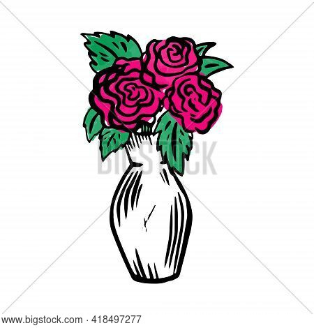 A Vase Of Flowers Drawn By Hand In The Style Of Doodle. Hand-drawn Flowers In A Vase Icon