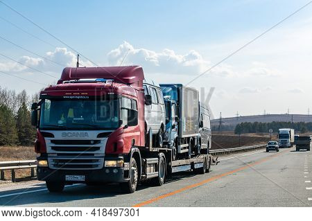 Interstate Highway Ufa - Kazan M7, Russia - Apr 23th 2021. The Scania Truck Of The Agat-logistic.ru