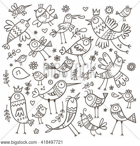 Set With Cute Cartoon Birds. Funny Animals Collection. Doodle Plants Print. Vector Herbs And Flowers