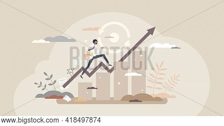 Consistency As Business Growth Or Development Stability Tiny Person Concept. Maintain Upward Movemen