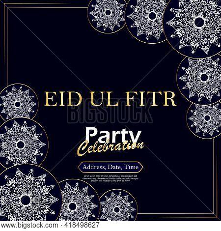 Eid Ul Fitr Party Celebration. Vector Illustration. Mandala Background.