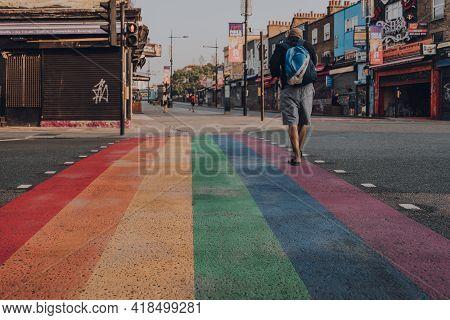 London, Uk - August 12, 2020: Rainbow Pedestrian Crossing On High Street In Camden Town, London, A P
