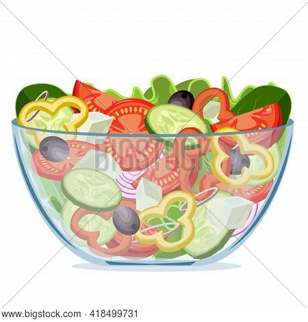 Greek Green Salad Of Fresh Vegetables In A Transparent Salad Bowl Object Isolated On A White Backgro