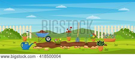 Garden With Green Grass, Flowers, Garden Wheelbarrow, Shovel. Garden Concept. Banner With Spring Or