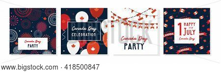 1 July. Happy Canada Day Greeting Card Set . Celebration Banner With Flying Balloons In Canadian Fla