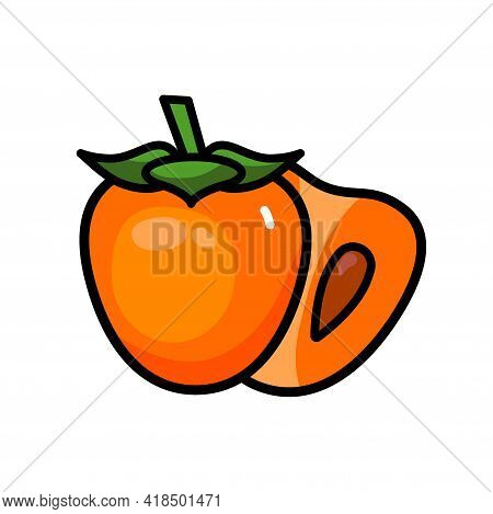 Vector Icon Of Colorful Juicy Persimmon. Fresh Persimmon Isolated On White Background. Juice Or Jam