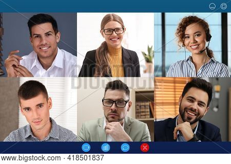 Group Of People Attending Webinar. Video Conference