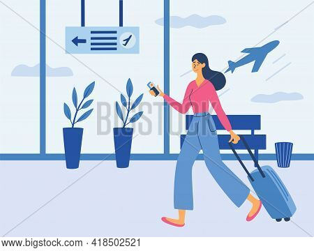 Young Woman With A Suitcase In Airport. Airport Terminal. Time To Travel. Woman With A Suitcase. Rec