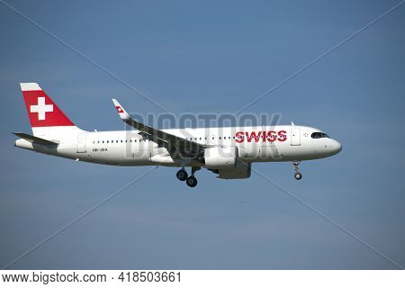 Swiss Airbus A 320 271n Aircraft On The Final Approach To The International Airport In Zurich In Swi
