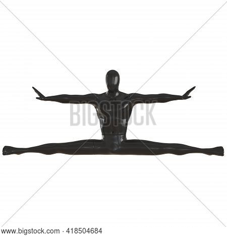 A Black Male Mannequin Sits In A Lateral Twine On An Isolated Background. Front View. 3d Rendering