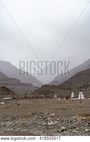 Landscape Of Ladakh, With Snow Mountains Captured During The Winter Season. Ladakh Tourism Boosted A