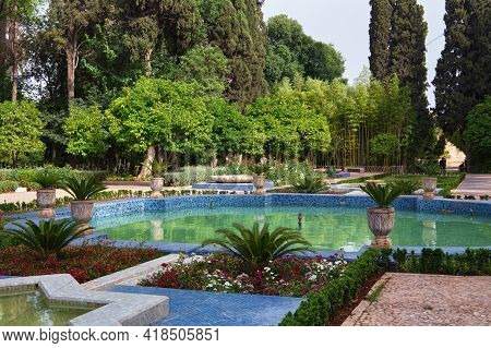 Moorish Pool In The Jnan Sbil City Park In Fez. Morocco.