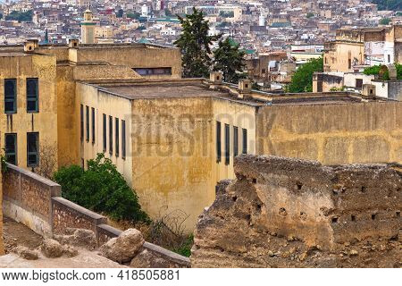 View Of The Shabby Poverty Old Buildings Near The Fez El Bali Medina. Is The Oldest Walled Part Of F
