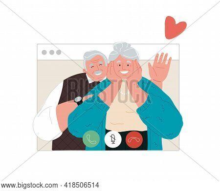 Grandparents Call Via Webcam, Communacation With Grandparents During Quarantine.vector Flat Illustra