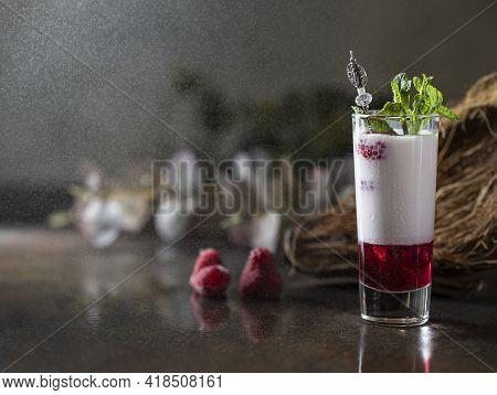 Shot Cocktails With Raspberry, Vanilla Liqour, Vodka. Fresh Summer Shots For Party.
