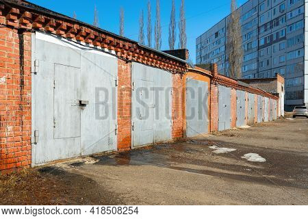 Red Brick Garages In Russia. Garage Cooperative