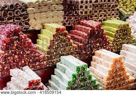 Turkish Delight Sold In Kapali Carsi (the Closed Bazaar). Istanbul, Turkey.