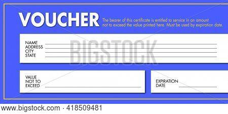 Voucher Certificate Credit Value Gift Blank Template Illustration