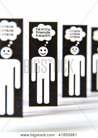 Paper Men Symbols Thinking About The Crisis, Familiy, Friends And Health