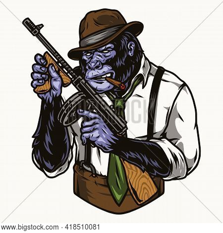 Dangerous Gorilla Gangster In Fedora Hat Shirt Tie And Trousers With Suspenders Holding Tommy Gun An