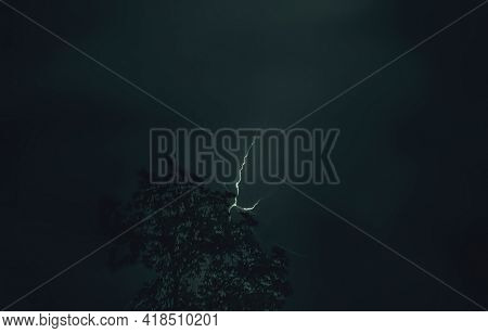 Real Great Thunderbolt In Deep Summer Dark Sky And Little Tree