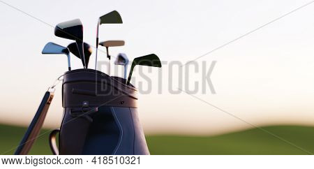 Golf clubs in bag at golf course resort at sunset 3d illustration