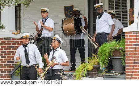 New Orleans, La - November 8: Soul Heirs Brass Band Perform At A Front Porch Concert In Uptown Neigh