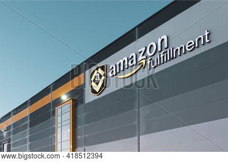 Sady Near Poznan, Poland - April 27, 2021. Amazon Logo At Its Logistics Center. Amazon Is An America