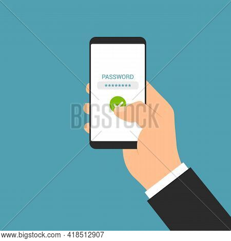 Flat Design Illustration Of Male Hand Holding Mobile Phone. The Manager Enters The Password On The T