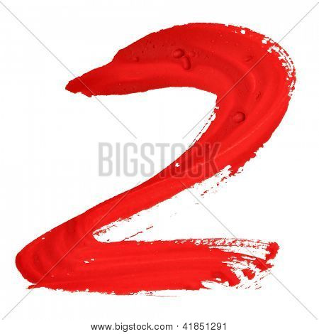 Two - Red handwritten numerals over white background