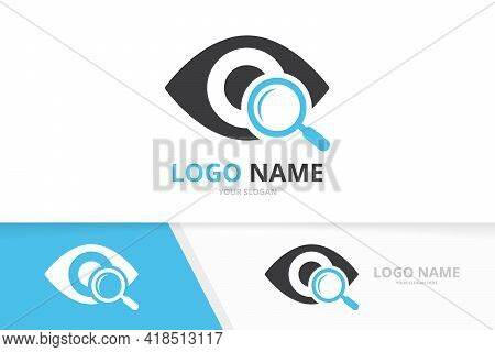 Vector Eye And Loupe Logo Combination. Unique Search Vision Logotype Design Template.