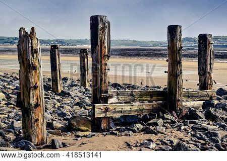 Beach Landscape With View Out To See At Low Tide