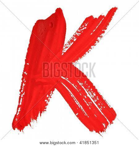 K - Red handwritten letters over white background