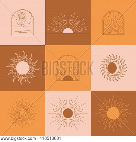 Boho Linear Sun, Arch, Arc Set Vector. Terracotta Architecture Elements In Bohemian Style. Tunisian,