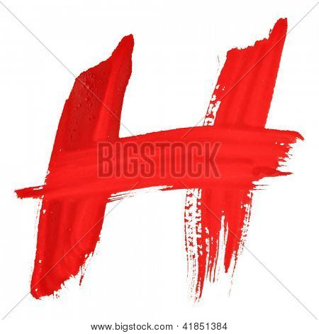H - Red handwritten letters over white background