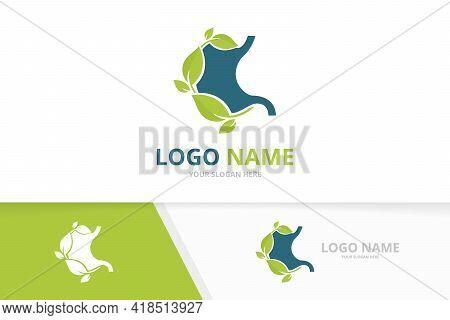 Gastrointestinal Tract Logotype Design Template. Eco Stomach Logo.
