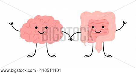 Connection Of Cute Healthy Happy Brain And Intestine Gut Characters. Relation Health Of Human Brain