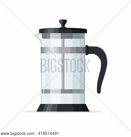 French Press Coffee Pot Isolated On White Background. Empty Glass Teapot With Piston. Home Coffee Ma