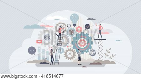 Work Operations And Teamwork Productivity With Control Tiny Person Concept. Business Project Workflo