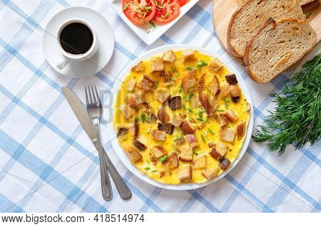 Omelet With Pieces Of Toasted Bread And A Cup Of Coffee. Delicious And Nutritious Breakfast. Top Vie
