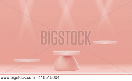 Minimal Podium Display With Cylinder Stand On Empty Wall With Spotlight In Peach Colour,vector Reali